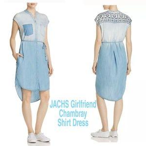 JACHS GIRLFRIEND CHAMBRAY SHIRT DRESS